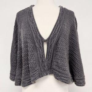 anthro | elizabeth gillett gray knit shawl poncho